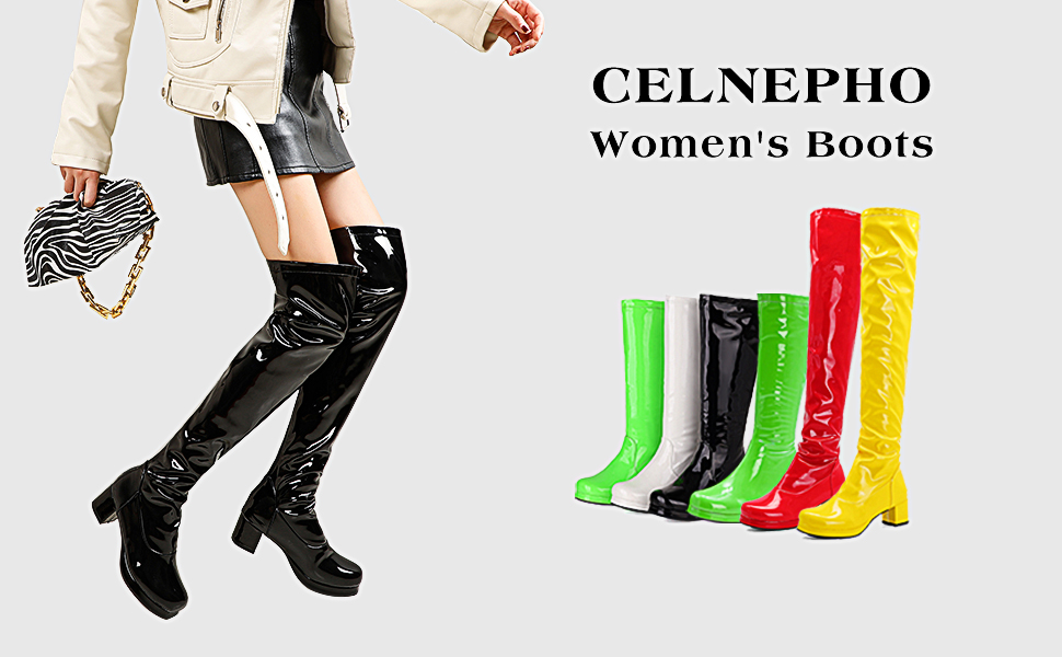 CELNEPHO women knee high boots