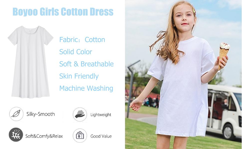 Boyoo Girls Cotton Dress Short Sleeve Color Casual T-Shirt Dress
