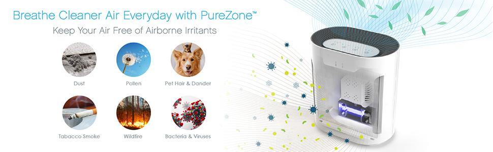 PureZone 3-in-1 Air Purifier 3 Stage Filtration