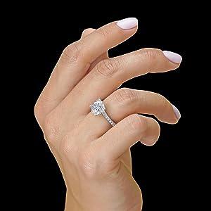 hb lf Moissanite Engagement Ring