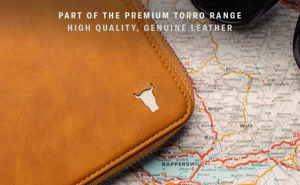 TORRO Genuine Leather Solo Travel Wallet (Tan)