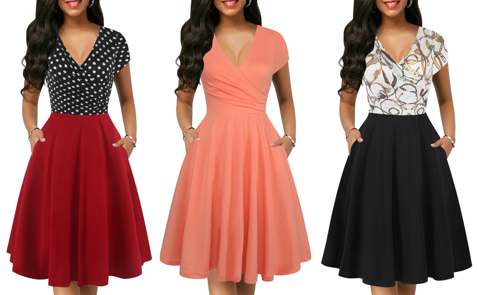 women's casual summer dress v neck cocktail party tea dresses dinner church dress with pockets