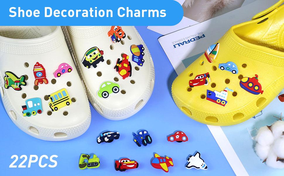 22 Pieces Car Cartoon Shoe Charms