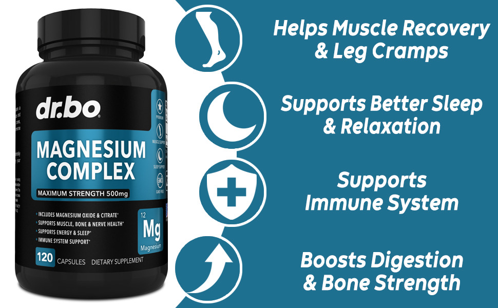 dr bo magnesium citrate complex supplements restless legs muscle recovery high absorption 500 mg aid