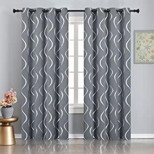 Silver Wave Line Blackout Curtains
