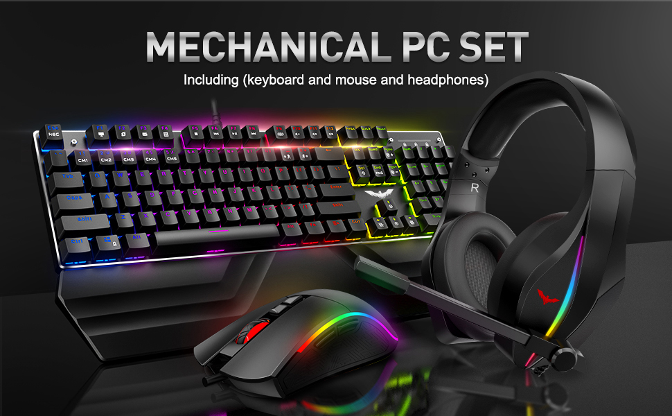 Wired Mechanical Keyboard, Mouse and Headset