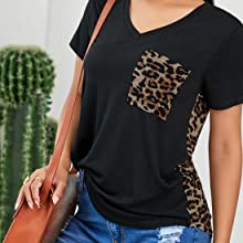Women Sunflower Print V Neck T Shirt for Women Fashion 2021 Cute Loose Blouse with Pocket