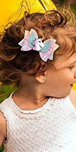 Unicorn Hair Bows With Alligator Clips For Toddler Girls