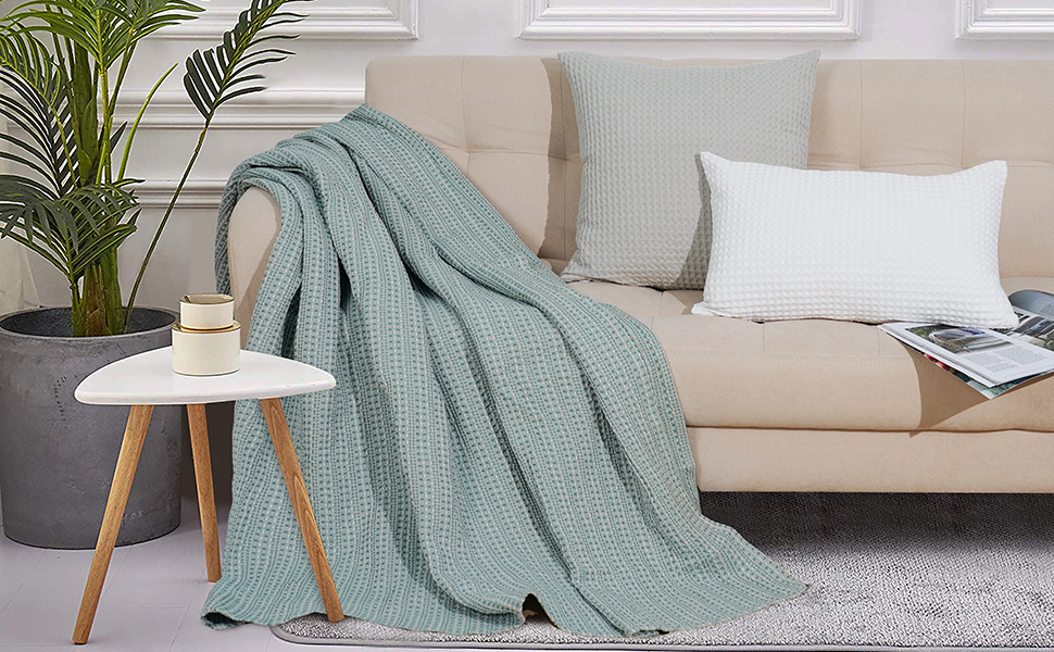 PHF 100% Cotton Waffle Blanket Luxurious Yarn Dyed Weave Blanket
