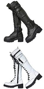 Women Buckle Combat Platform Boots