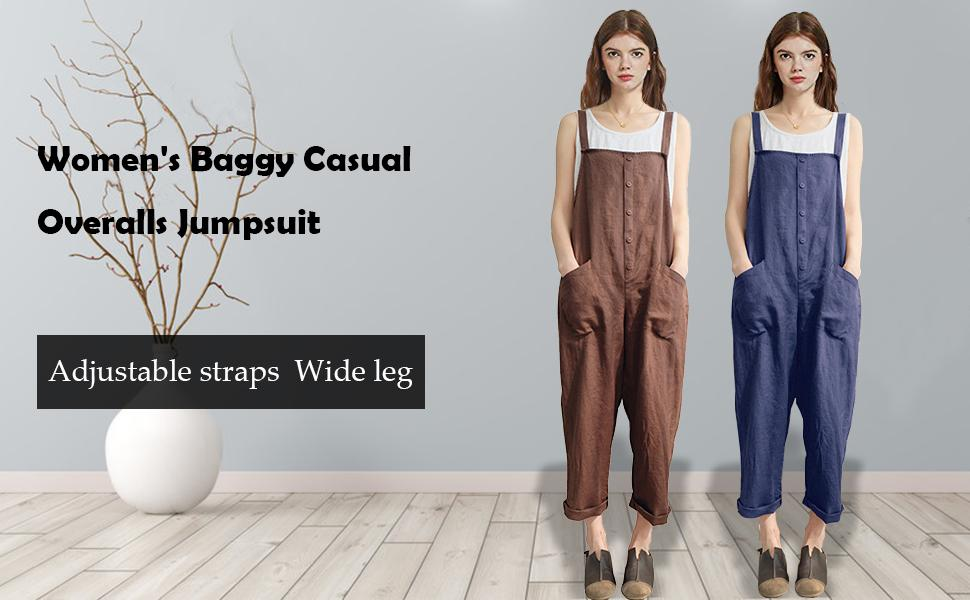 Women's Casual Baggy Overalls Jumpsuit with Pockets