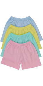 girls pack of four one hundred percent cotton shorts