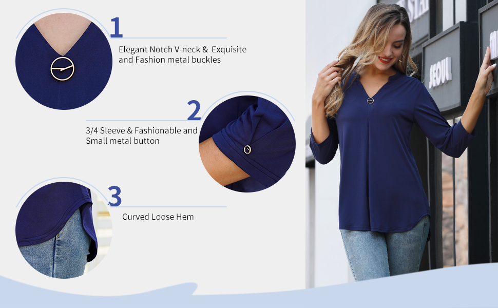 VALOLIA Women's 3/4 Sleeve Shirts V Neck Casual Flowy Business Blouse Tops