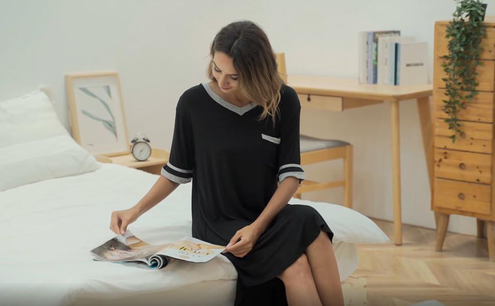 Vlazom Women's Sleep Shirt V Neck Nightgown