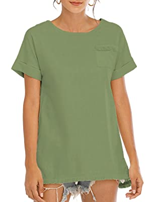 Famulily Fashion Womens Raw Hemline Shirts with Pockets Loose Linen Crew Neck Tops