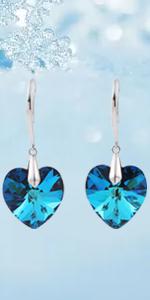 Blue Heart of Ocean Drop Earrings