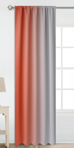 Rod Pocket Greyish White and Coral Ombre Room Darkening Ombre Curtains