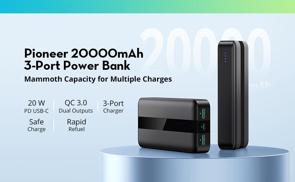 Pioneer 20000mAh 3-Port Power Bank
