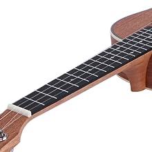fretboard of ukulele