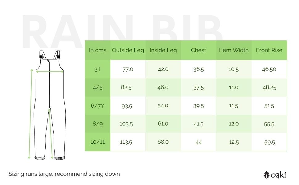 rain bib size chart