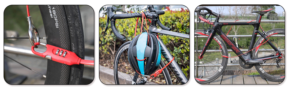 Combination Bike Lock Cable - Compact Anti-Theft Bicycle Chain Lock