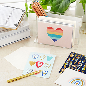 Set of note cards with rainbow hearts for birthdays, thank you notes and encouraging messages