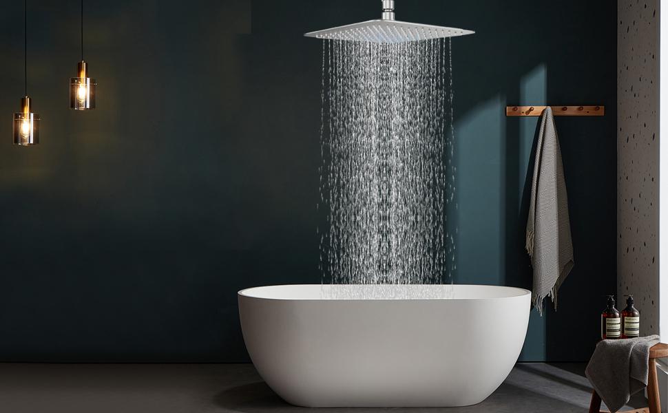 large shower head pressure led rain high lights rainfall heads light waterfall showerhead 20 inch