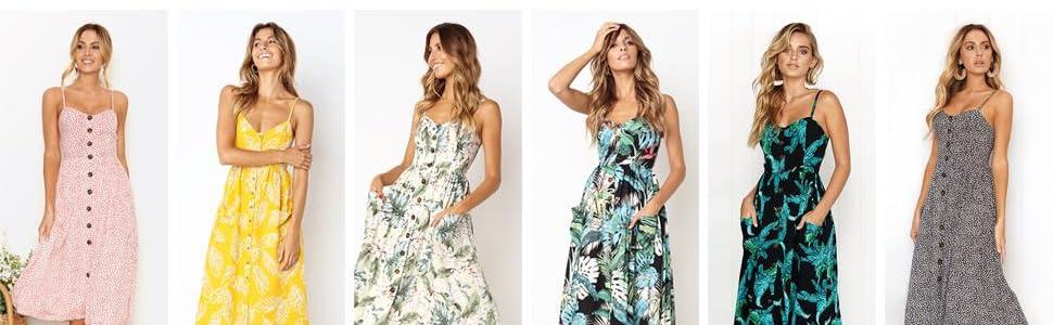 spaghetti strap dress, midi sundresses for women, casual dress with pockets