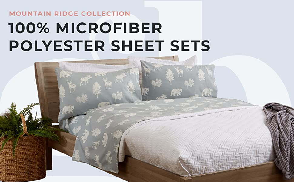 lodge print microfiber polyester sheets, Mountain Ridge Collection