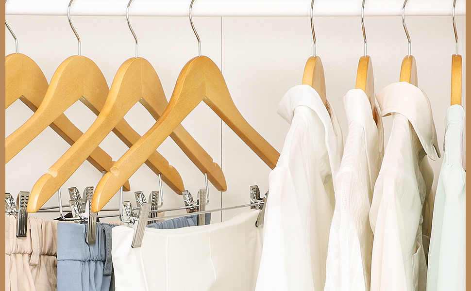 cozymood Wood Hangers with Clips12 Pack Suit Hangers with Clips