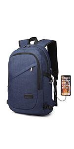 Kono Laptop Rucksack Herren Anti-Diebstahl Laptoptasche 15.6 Zoll für Arbeit mit USB