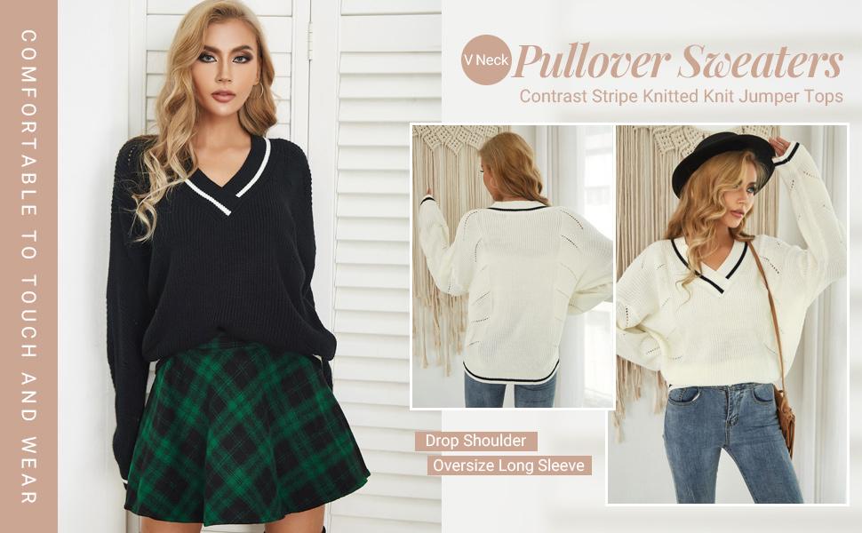 fall winter sweater top for women drop shoulder