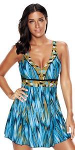 bra push up blue swimming bathing suits swim dress for women tummy control swimwear swimsuit