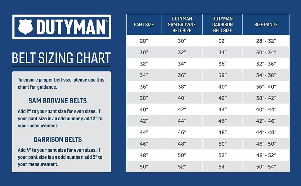 Dutyman Belt Sizing Chart