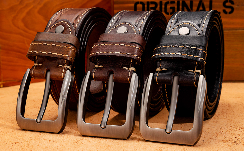 Mens Belt Leather Casual for Jeans Double Loop Work Belt for Men Dress Belt…