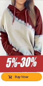 WomenLong Sleeves Color Block Sweatshirts Hoodie Pullover Casual Drawstring Cute Tunic Tops