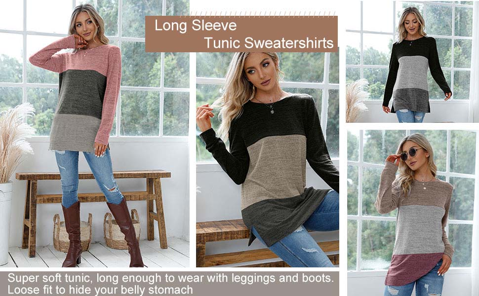 XIEERDUO Womens Fall Clothes Side Split Thermal Shirts For Women