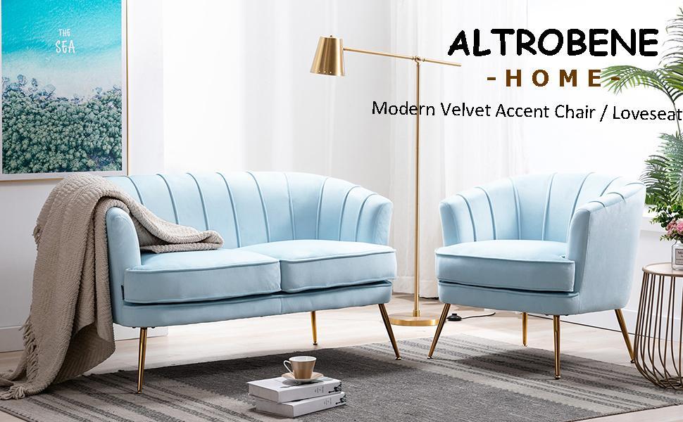 Modern Velvet Accent Chair / Loveseat