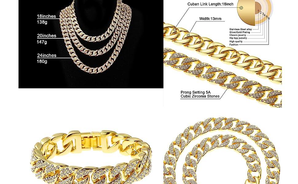 Miami Cuban Necklace Bracelet Set