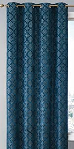 Versailles Collection Grommet Window Curtain Teal