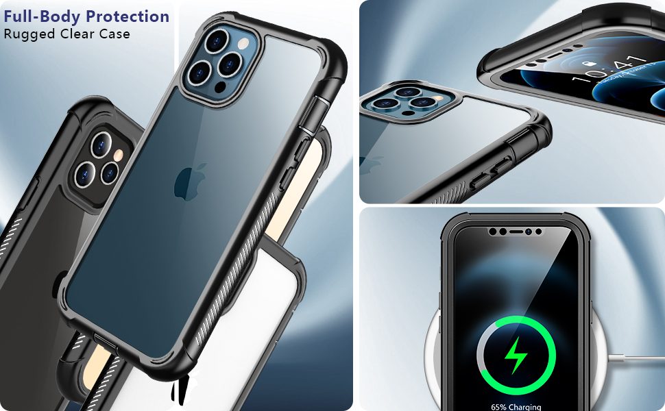 iPhone 12 Pro Max Case Clear Cover 360 Full Body Protective Phone Case for iPhone 12 Pro Max