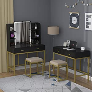 vanity mirror with lights and table set