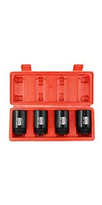 4Pcs 1/2-Inch Drive Deep 6-Point Spindle Axle Nut Impact Socket Set
