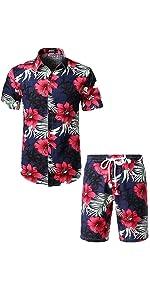 floral casual hawaiian shirts and shorts suit beach aloho holiday summer Drawstring set