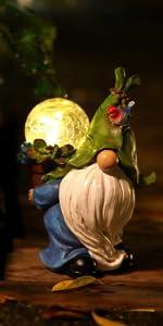 garden gnome knome funny solar lights garden decor