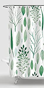 Gibelle Green Floral Shower Curtain