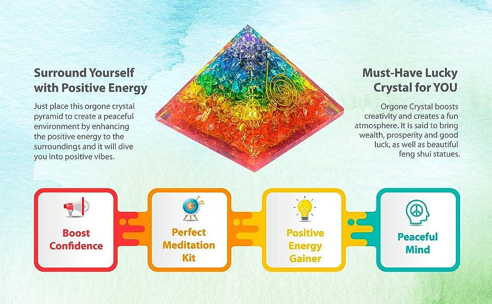 Seven chakras energy meditation healing crystal orgonite pyramid