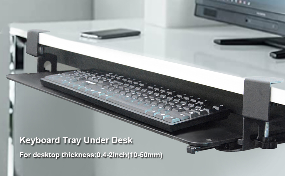"""Keyboard Tray Under Desk with Large Sturdy C Clamp for Desks Up to 2"""" Thick"""