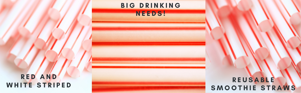jumbo red and white striped plastic drinking straws