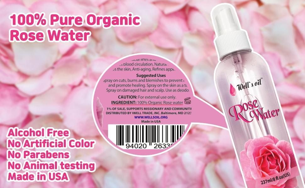 100% Pure Organic Rose Water